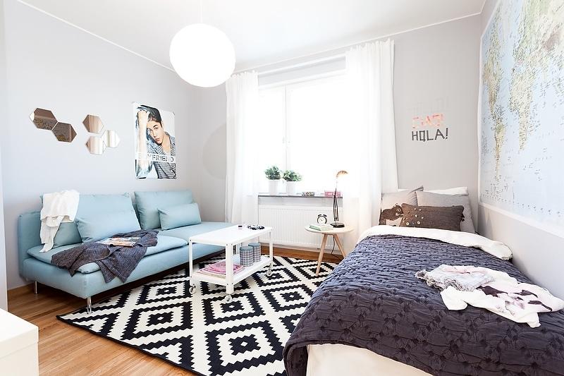 Un intérieur scandinave bleu-gris (6)