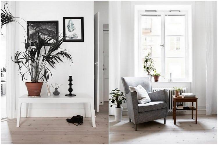 appartement noir et blanc reveille par du orange