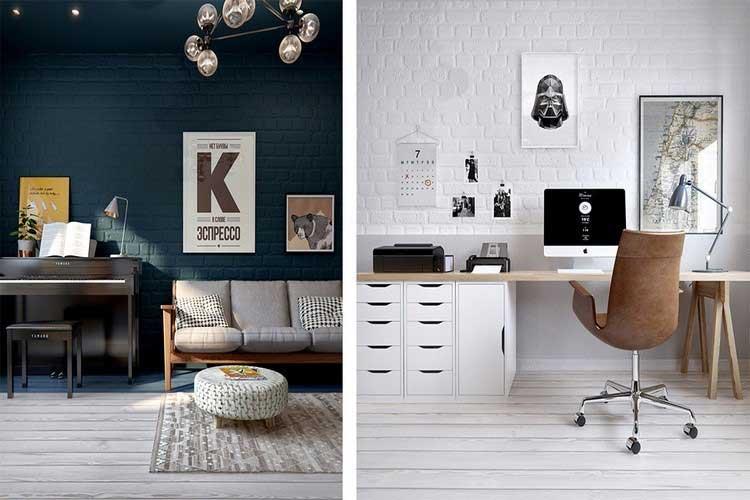 mur de briques blanches dans espace bureau