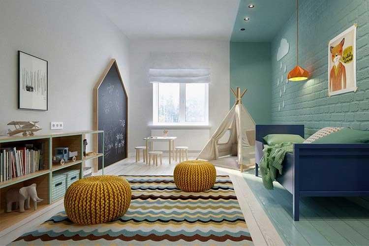 chambre enfant mur de briques vertes