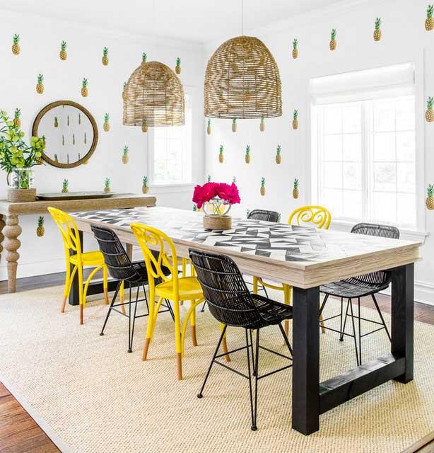 papier peint ananas et pastèque déco intérieure (2)