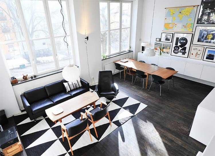 la d co graphique d 39 un salon noir et blanc. Black Bedroom Furniture Sets. Home Design Ideas