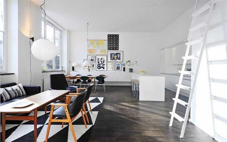 salon graphique en noir et blanc