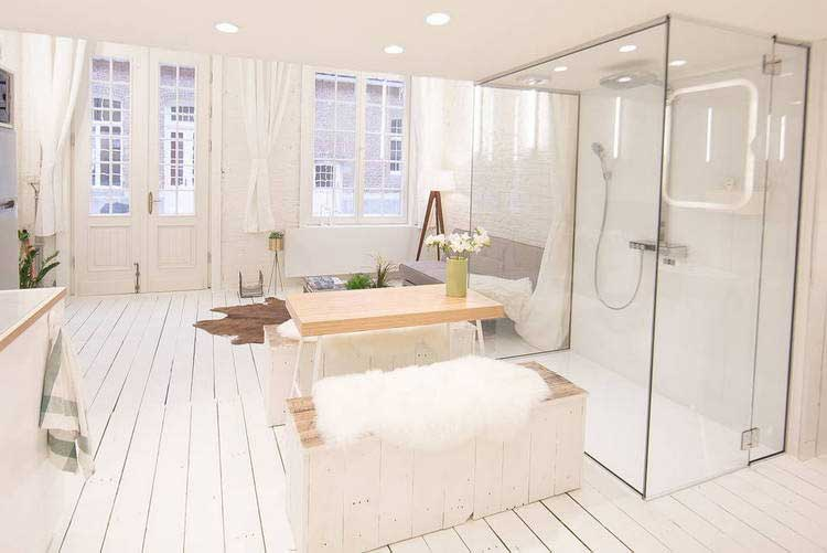 Un appartement enti rement blanc - Cloison mobile appartement ...