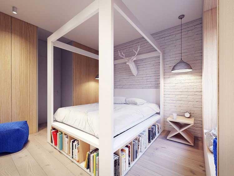 lit baldaquin bois blanc