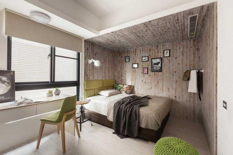 chambre imitation cabane en bois