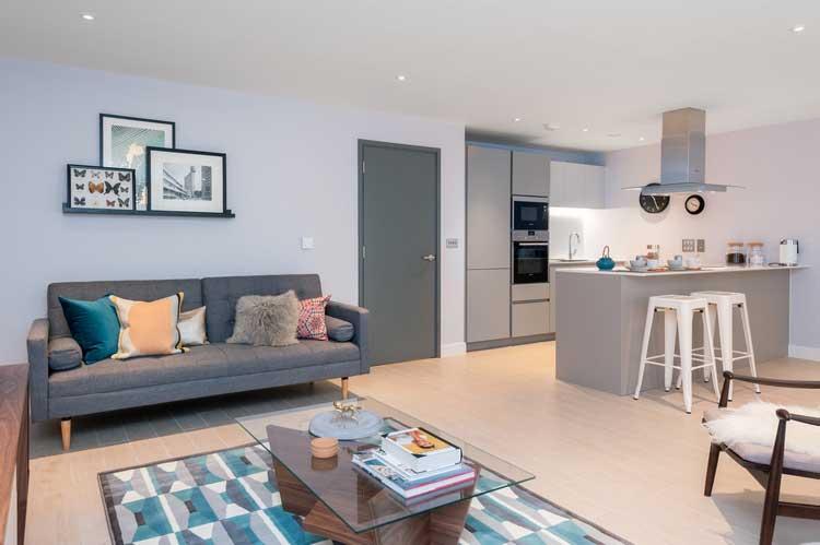 appartement bleu gris
