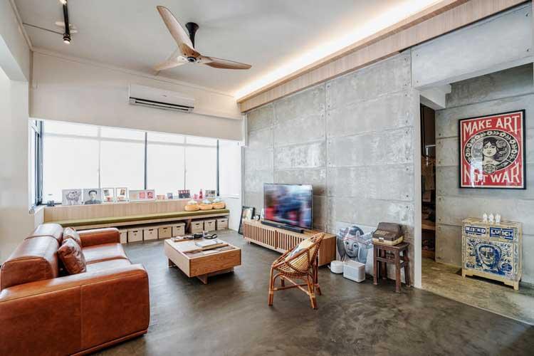 beton sur le sol et les murs