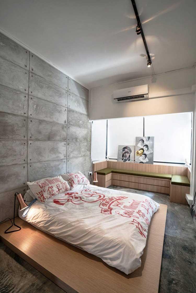 chambre en beton mur et sol