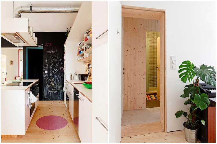 parquet et mobilier en bois clair
