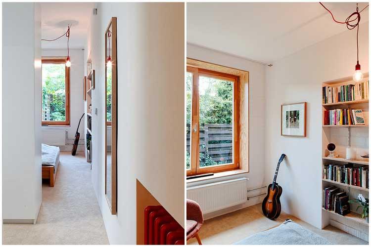 chambre clair avec encadrement fenetre en bois
