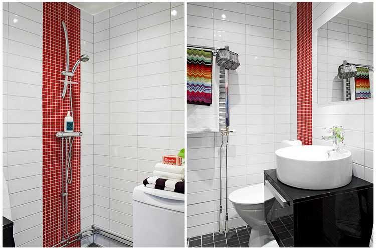 salle de bains blanche et rouge