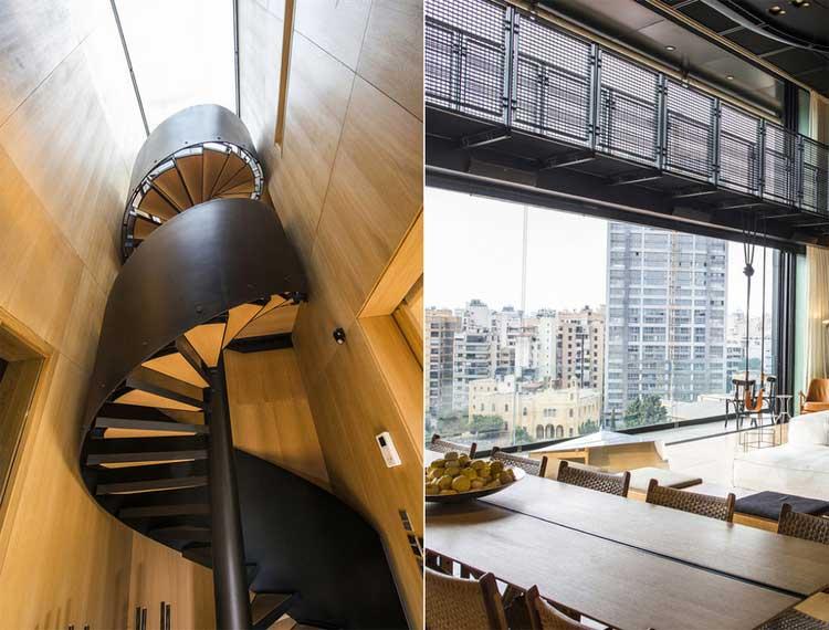 escalier colimacon en bois et metal