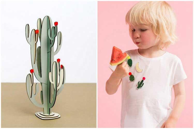 cactus en bois broche cactus