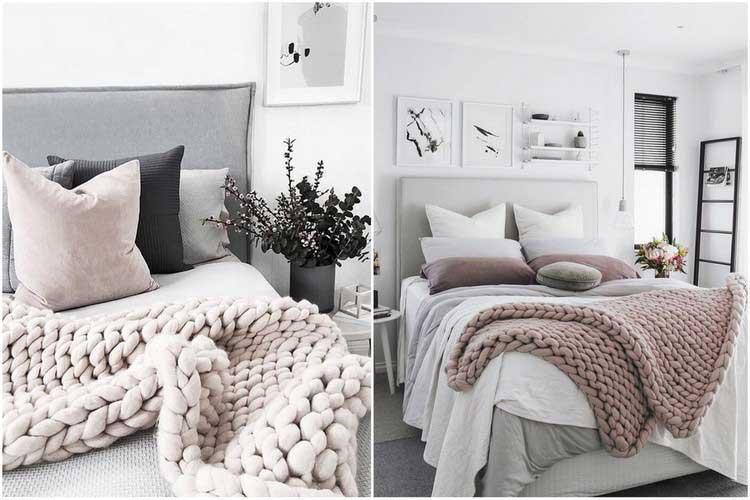 Chambre cocooning 5 astuces pour cr er une chambre cosy - Plaid en laine tricotee ...
