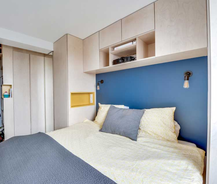chambre tete de lit bleu