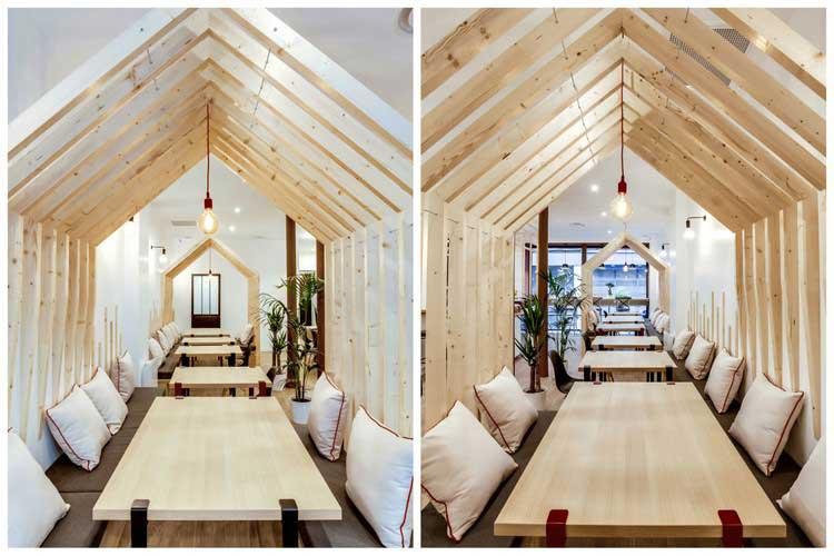 Id e d co pour am nager un caf avec des cabanes en bois for Cabane en bois design