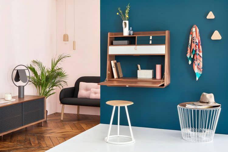 10 id es de bureau mural rabattable pour petits espaces for Bureau mural rabattable