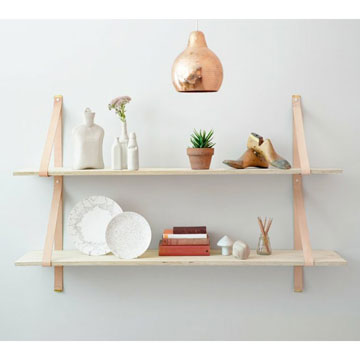 wood and leather wall shelf