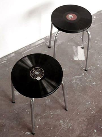tabouret disque vinyle