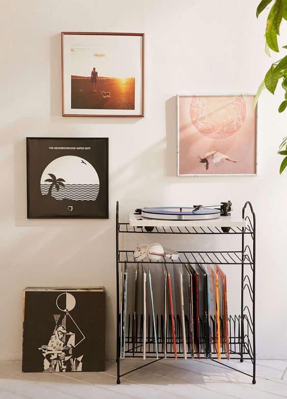 mur de pochettes vinyles