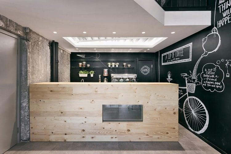 un caf la d co noire et bois. Black Bedroom Furniture Sets. Home Design Ideas