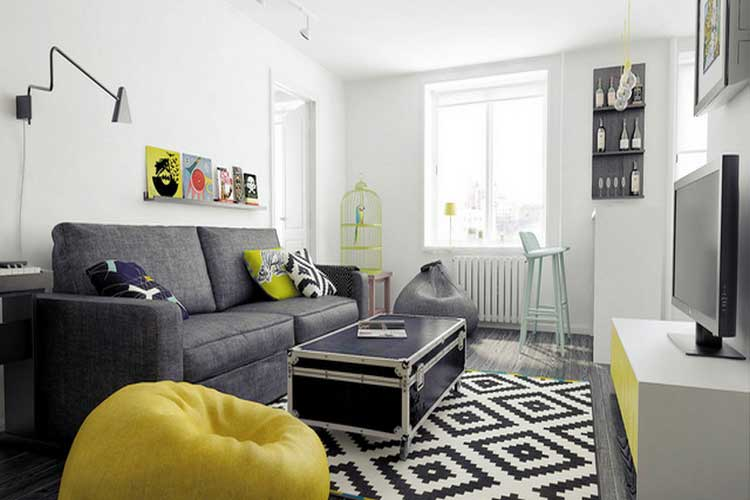 salon noir et jaune