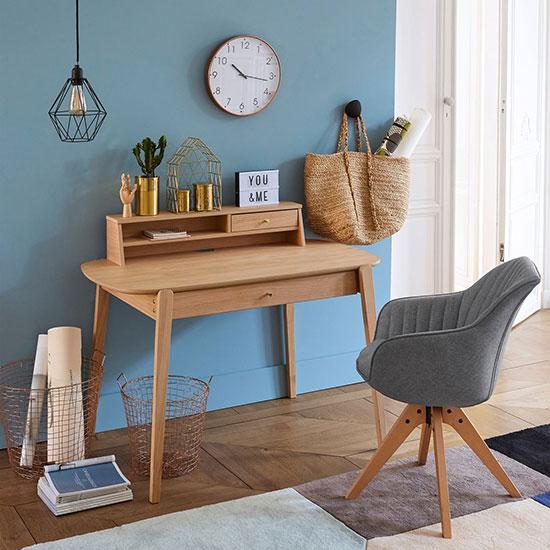 Bureau en bois avec rehausse