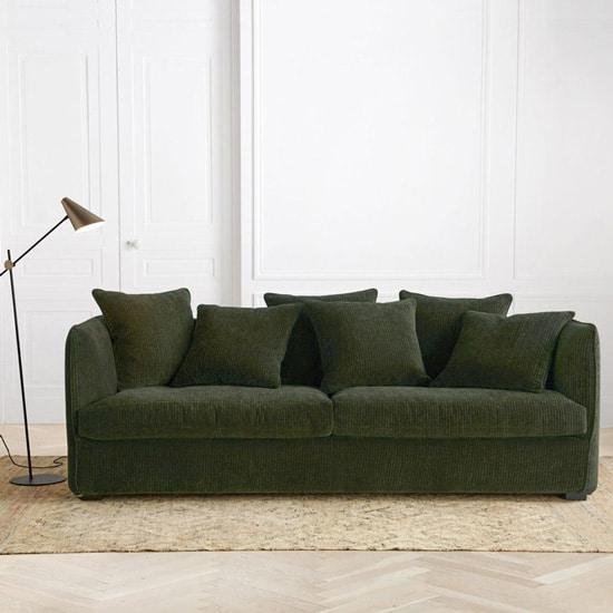 Canapé en velours côtelé vert