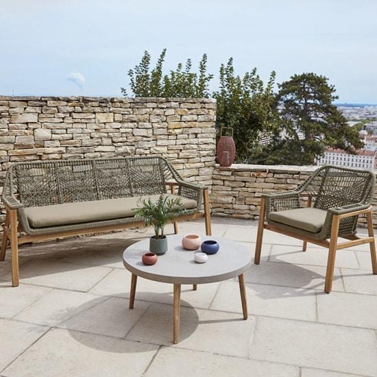Canapé de jardin 3 places corde & bois