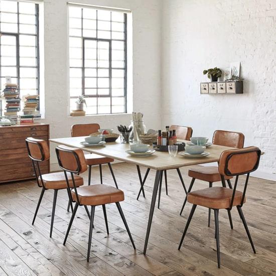 Chaise industrielle en cuir vintage