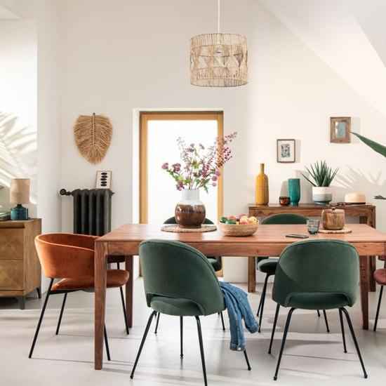 Chaise en velours vintage pour salle à manger