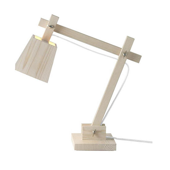 Lampe de bureau bois brut