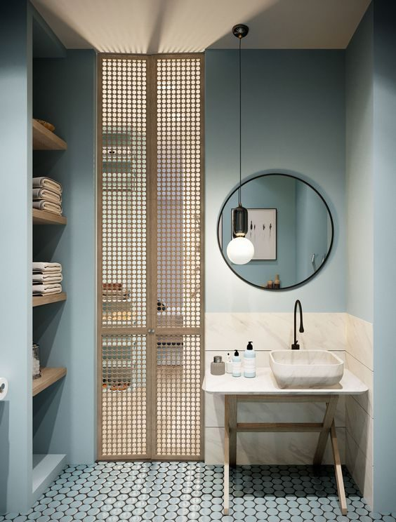 salle de bain vert d'eau