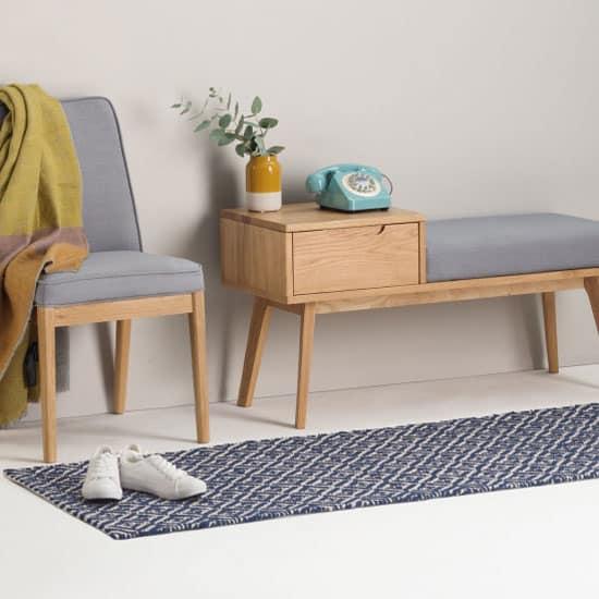 tapis en coton bleu et blanc