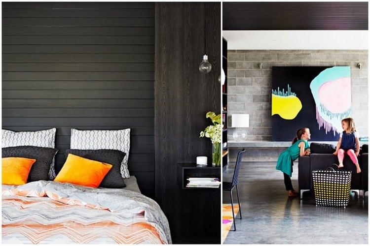 planches de bois peintes en noir