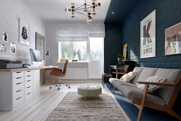 espace bureau avec mur de briques bleu fonce