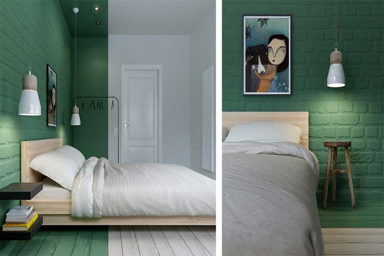 chambre mur de briques vertes