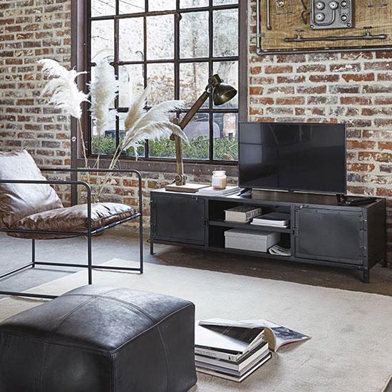 Meuble tv en métal noir
