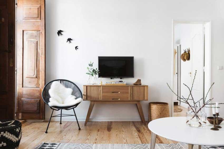 comment cr er un salon gris et bois clair pour une atmosph re apais e. Black Bedroom Furniture Sets. Home Design Ideas