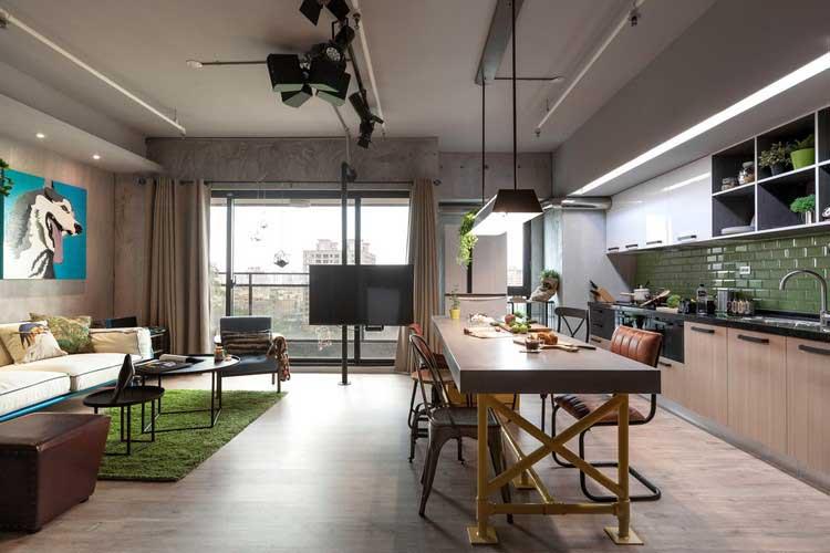 meuble de salon style industriel