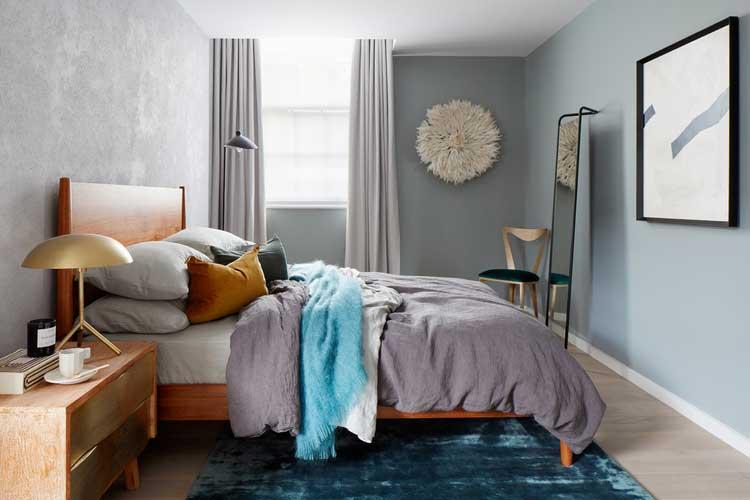 chambre scandinave bleu gris