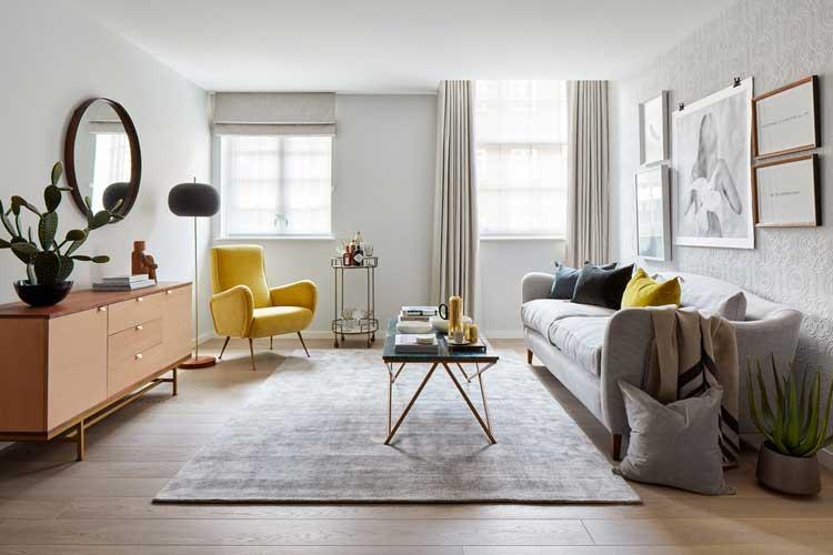 deco enfilade scandinave et fauteuil jaune