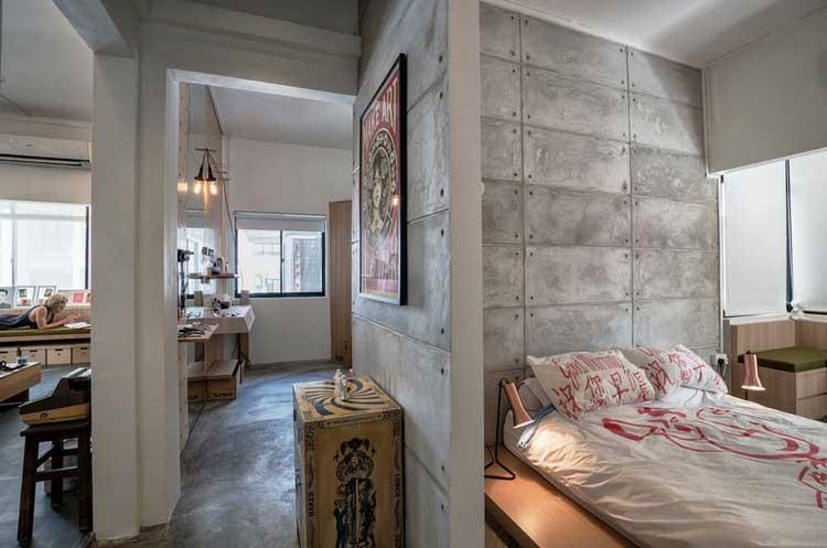 mur beton chambre