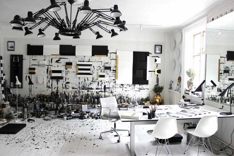 atelier d artiste decore noir et blanc