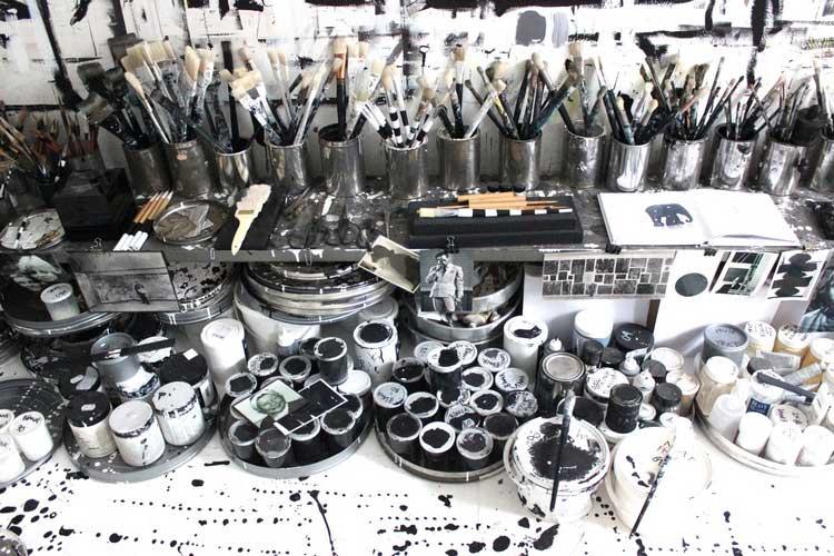 deco noir et blanc atelier artiste