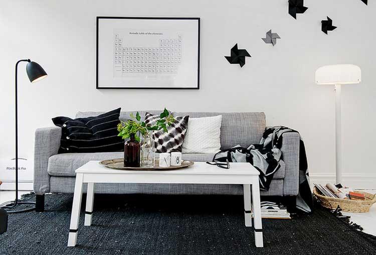 deco sejour Interieur scandinave blanc gris