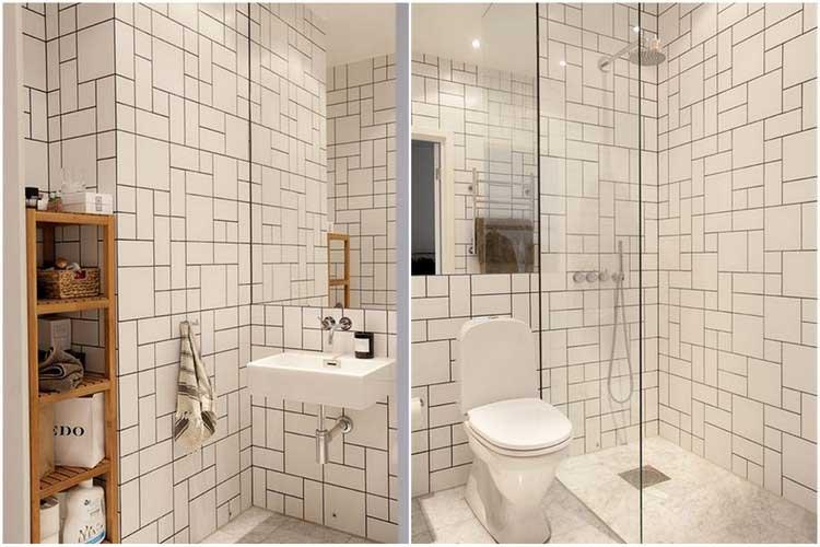 salle de bains carrelee blanc