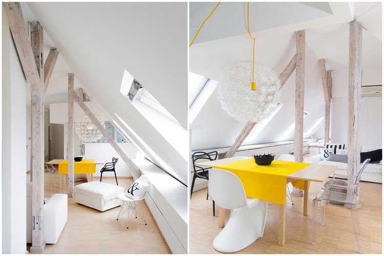 deco interieure blanc bois jaune