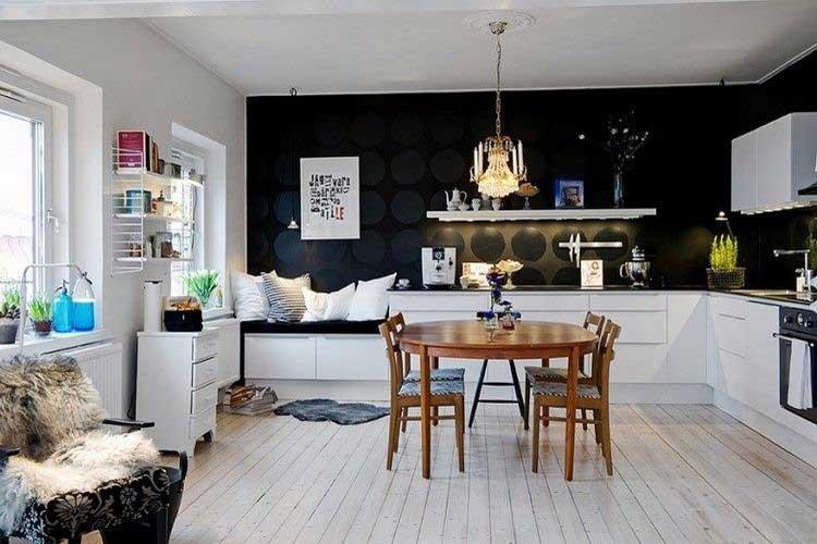 cuisine couleur noire 2 - Peindre 2 Murs De Couleurs Differentes